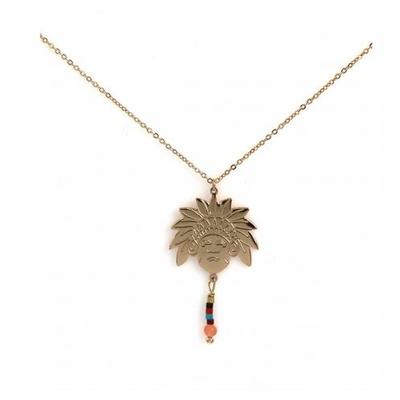 Collier tête indien et perles acier inoxydable or rose - Mile Mila