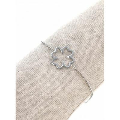 Bracelet trèfle évidé acier inoxydable argent - Mile Mila