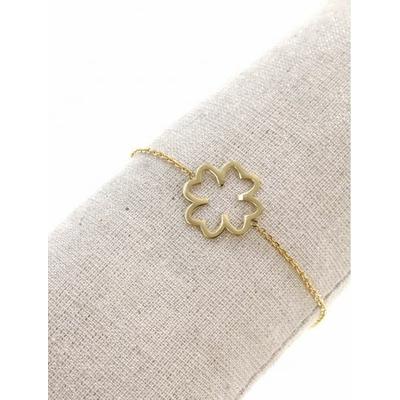 Bracelet trèfle évidé acier inoxydable doré - Mile Mila