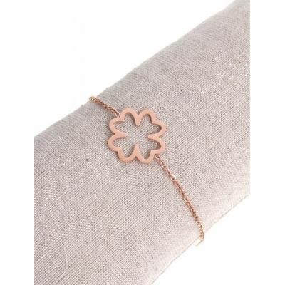 Bracelet trèfle évidé acier inoxydable or rose - Mile Mila