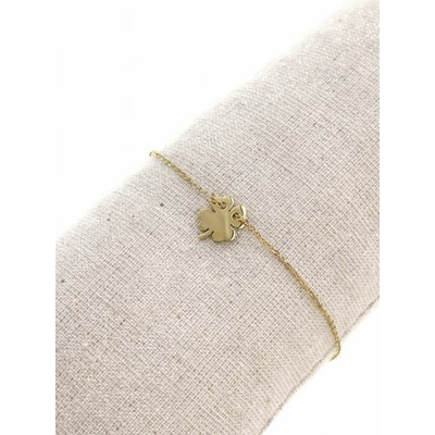 Bracelet trèfle plein acier inoxydable doré - Mile Mila