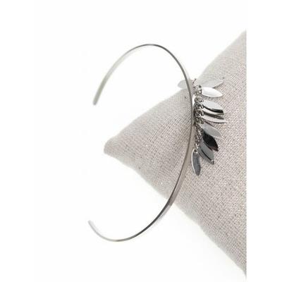 Bracelet jonc fin franges acier inoxydable argent - Mile Mila