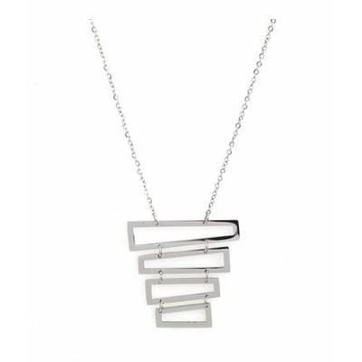 Collier multi rectangles empilés acier inoxydable argent  - Mile Mila