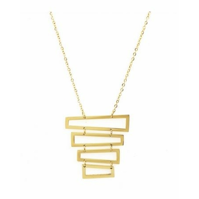 Collier multi rectangles empilés acier inoxydable doré - Mile Mila