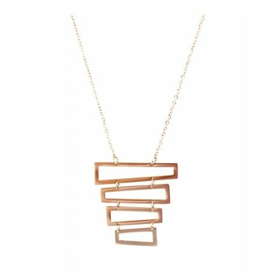 Collier multi rectangles empilés acier inoxydable or rose - Mile Mila