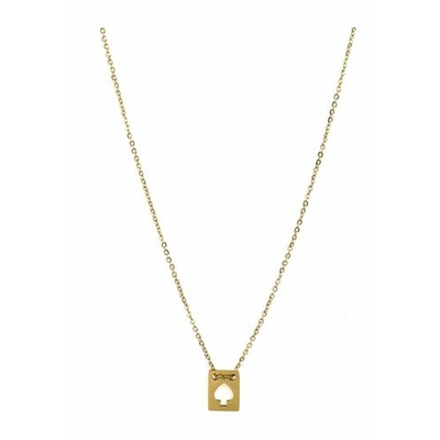 Collier rectangle pique acier inoxydable doré - Mile Mila
