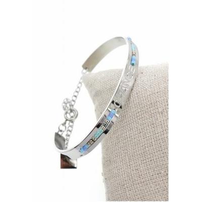 Bracelet jonc chance perles bleu acier inoxydable argent - Mile Mila