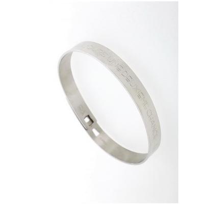Bracelet jonc LA VIE TE DONNE TOUJOURS UNE DEUXIEME CHANCE... ELLE S'APPELLE DEMAIN largeur 0.8cm acier inoxydable argent - Mile Mila