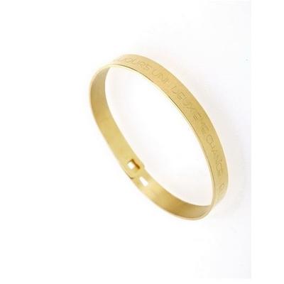 Bracelet jonc LA VIE TE DONNE TOUJOURS UNE DEUXIEME CHANCE... ELLE S'APPELLE DEMAIN acier inoxydable doré - Mile Mila