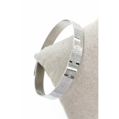 Bracelet jonc love, chance, dream, hope, acier inoxydable argent - Mile Mila