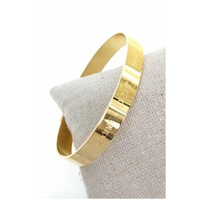 Bracelet jonc love, chance, dream, hope, acier inoxydable doré - Mile Mila