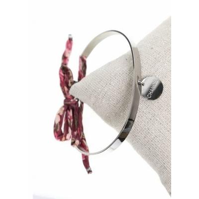 Bracelet jonc pampille chance nœud bordeaux acier inoxydable argent - Mile Mila
