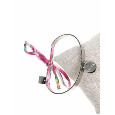 Bracelet jonc pampille chance nœud rose acier inoxydable argent - Mile Mila