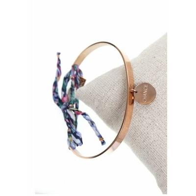 Bracelet jonc pampille chance nœud bleu acier inoxydable or rose - Mile Mila