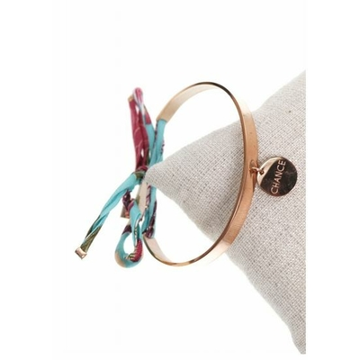 Bracelet jonc pampille chance nœud vert acier inoxydable or rose - Mile Mila
