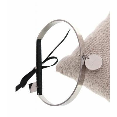 Bracelet jonc pampille chance nœud noir acier inoxydable argent - Mile Mila