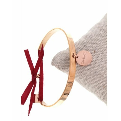 Bracelet jonc pampille chance nœud bordeaux acier inoxydable or rose - Mile Mila