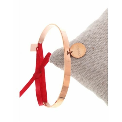 Bracelet jonc pampille chance nœud rouge acier inoxydable or rose - Mile Mila