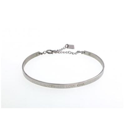 Bracelet jonc PEACE HAPPINESS LOVE CHANCE HOPE acier inoxydable argent - Mile Mila