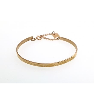 Bracelet jonc PEACE HAPPINESS LOVE CHANCE HOPE acier inoxydable doré - Mile Mila