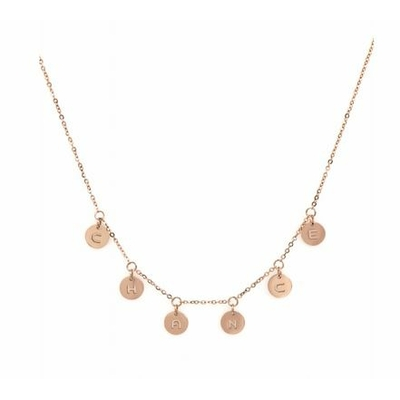 Collier pampilles chance acier inoxydable or rose - Mile Mila