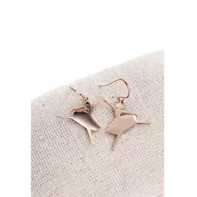 Boucles d'oreilles crochets danseuse ballerine acier inoxydable or rose - Mile Mila
