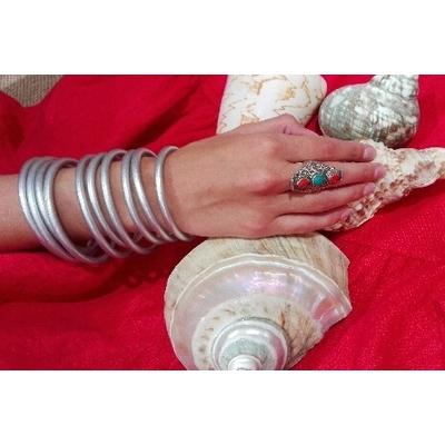 Bracelet ÉPAIS Ø6 jonc temple tibétain bouddhiste poudre d'argent et huile dans tube scellé – La Belle Simone Bijoux