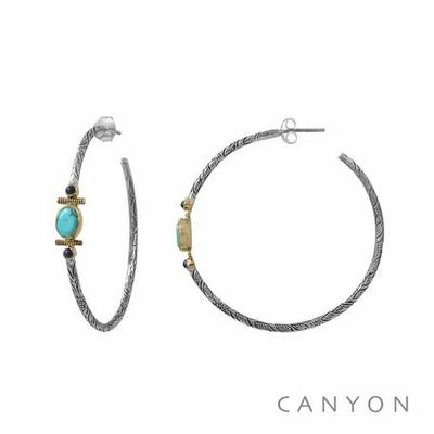 Boucles d'oreilles créoles en argent gravé turquoise reconstituée et 2 lapis-lazuli - Canyon