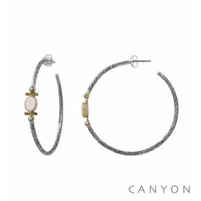Boucles d'oreilles créoles en argent gravé ovale d'opale rose et 2 perles synthétiques blanches - Canyon