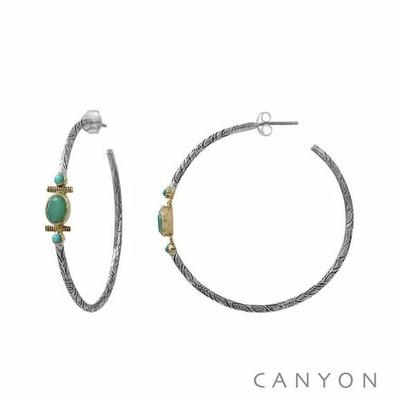 Boucles d'oreilles créoles en argent gravé ovale de chrysoprase et 2 turquoises reconstituées - Canyon