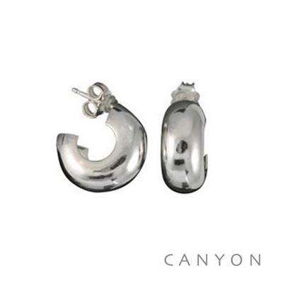 Boucles d'oreilles créoles en argent dodue creuse petit modèle - Canyon