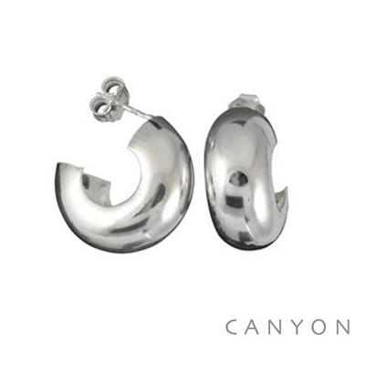 Boucles d'oreilles créoles en argent dodue creuse grand modèle - Canyon