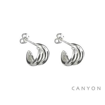 Boucles d'oreilles créoles en argent formé de 2 petits anneaux - Canyon