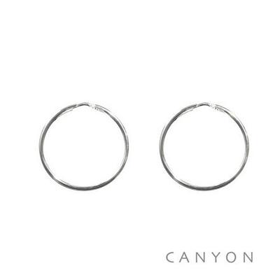 Boucles d'oreilles créoles fines en argent Ø30mm - Canyon