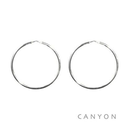 Boucles d'oreilles créoles fines en argent Ø40mm - Canyon
