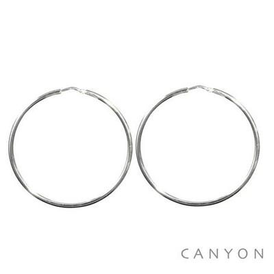 Boucles d'oreilles créoles fines en argent Ø50mm - Canyon
