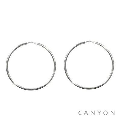 Boucles d'oreilles créoles fines en argent Ø60mm - Canyon