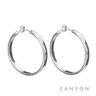 Boucles d'oreilles créoles section plate Ø4cm - Canyon