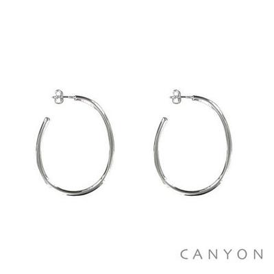 Boucles d'oreilles créoles en argent Goutte moyen modèle Fils Rond - Canyon