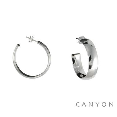 Boucles d'oreilles créoles rondes dodues plates Ø3cm- Canyon