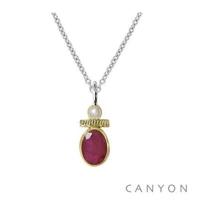 Collier argent sillimanite rouge et petite perle - Canyon