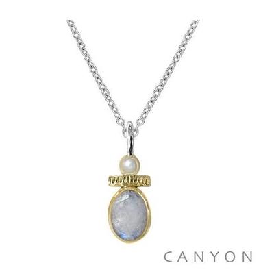 Collier argent pierre de lune et petite perle - Canyon