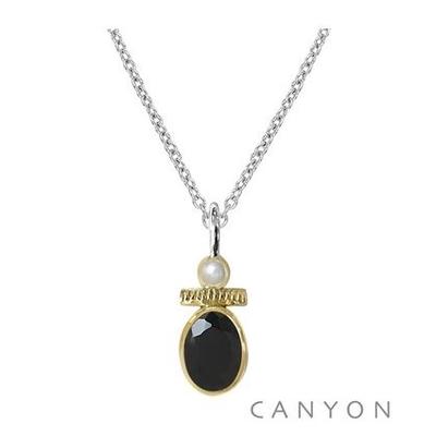 Collier argent onyx noir et petite perle - Canyon