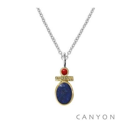 Collier argent lapis-lazuli et petit corail - Canyon