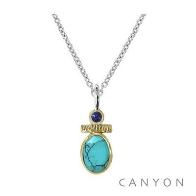 Collier argent turquoise et petit lapis-lazuli - Canyon