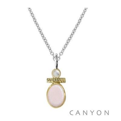 Collier opale rose et petite perle - Canyon