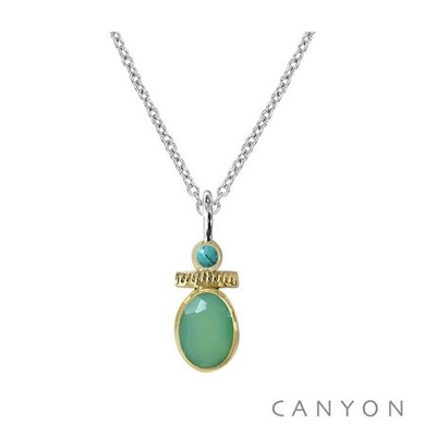 Collier argent chrysoprase et petite turquoise - Canyon