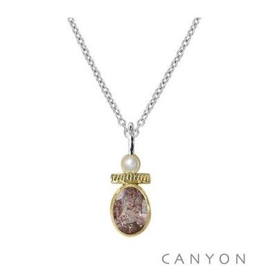 Collier quartz fraise et petite perle - Canyon