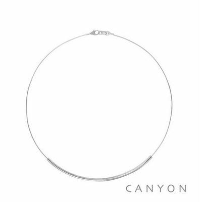 Collier argent câble rhodié décoré d'un tube argent - Canyon