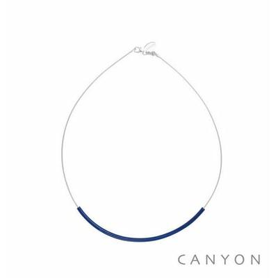 Collier argent cable décoré d'un tube d'émail bleu - Canyon